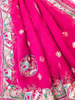 Vintage Heavy Dupatta Antique Women Bridal Long Scarf Embroidered Stole HD1023
