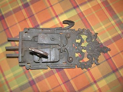 "Antique 1600's Large Beautiful Hand Wrought Iron Door Lock & Key, 16"" Long"