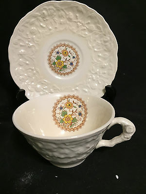 Steubenville STB338 Rose Point Cup and Saucer,