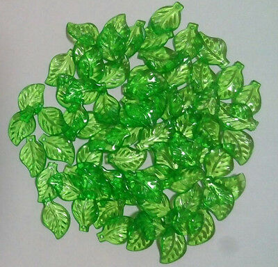 Green Acrylic Leaf Loose plastic Beads Charms Pendants for DIY Jewelry Findings