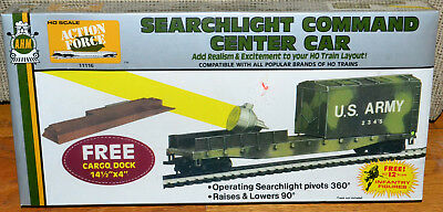 HO Model Train AHM Action Force Army Searchlight Command Center Car w Cargo Dock