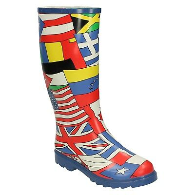 Ladies Wellington World Flags Multicoloured Wellie Boots X1182 Uk Size 3 - 7