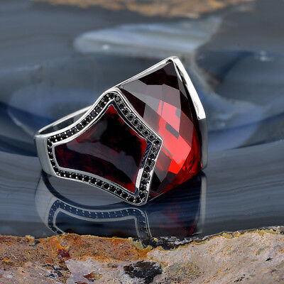 Handmade 925 SILVER Turkish ring Red crystal stone Men size jewelry RRP £40