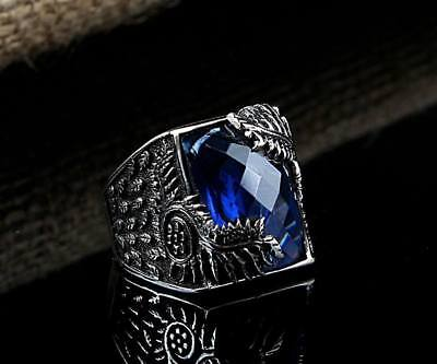 Handmade 925 SILVER Turkish ring Blue crystal stone Men size jewelry RRP £40
