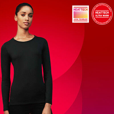 89771ee5f1c6 Uniqlo Extra Warm New Women Heattech Crew Neck Long Sleeve T-Shirt Black  Size Xl