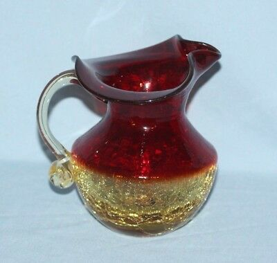 Blown Crackle Glass Amberina Pitcher