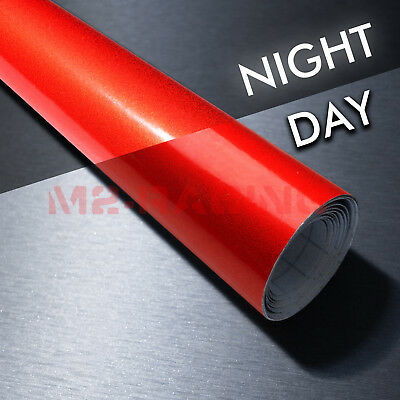 "4""x8"" Sample Reflective Red Vinyl Wrap Sticker Decal Graphic Sign Adhesive Film"