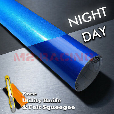 "*12""x48"" Reflective Blue Vinyl Wrap Sticker Decal Graphic Sign Car Adhesive Film"