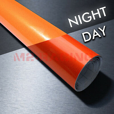 "4""x8"" Sample Reflective Orange Vinyl Wrap Sticker Decal Graphic Sign Adhesive"