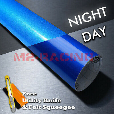 *Reflective Blue DIY Car Vinyl Wrap Sticker Decal Graphic Sign Adhesive Film