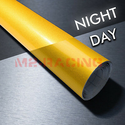 """4""""x8"""" Sample Reflective Yellow Vinyl Wrap Sticker Decal Graphic Sign Adhesive"""