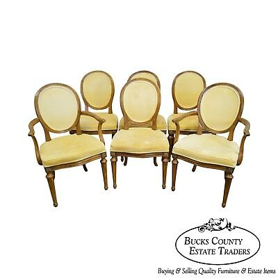 Davis Furniture French Louis XVI Style Set of 6 Solid Walnut Dining Chairs