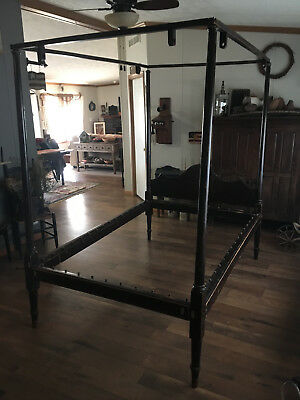 "ANTIQUE 1800's CHIPPENDALE ROPE TALL POST CANOPY BED- TWIN - 72"" by 48"" MATTRESS"