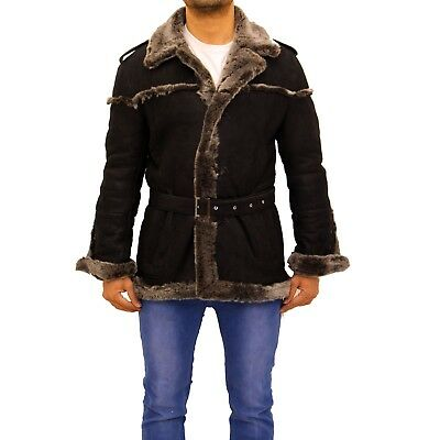 Men's Black With Grey Merino Sheepskin Long Belted Thick Warm Winter Coat Jacket