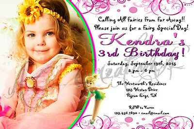 Disney Tinkerbell Fairy Birthday Party Invitation