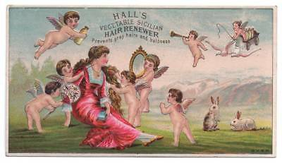 Hall's Sicilian Hair Renewer trade Card   Winged Cherubs groom woman  Cosmetics