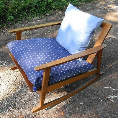 Vintage Wooden Mid Century Modern Rocking Chair Danish
