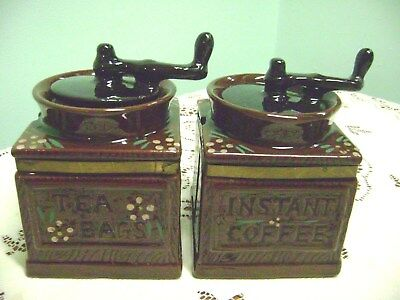 Vintage Japan Redware Instant Coffee & Tea Bag Coffee Grinder Canisters/jars....