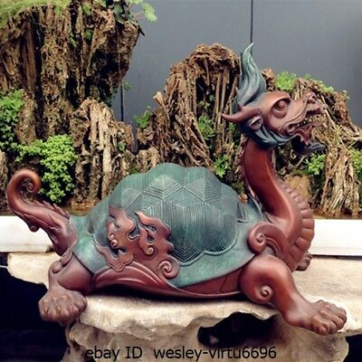 Chinese Old Myth Bronze Copper Sculpture Dragon Turtle painted Art Deco Statue