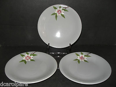 3 Weil Ware California Pottery Brentwood Dogwood Gray Background Bread & B Plate