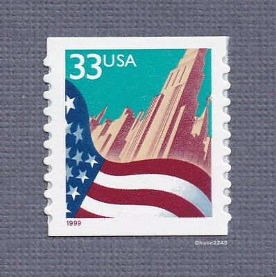 Scott #3281 Flag over City 33c (Coil Single) 1999 Red Date (Perf. 9.8) Mint NH