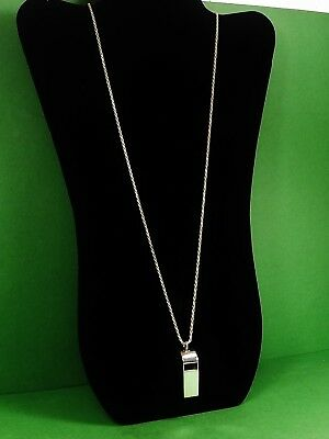 Sterling Silver .925  Whistle 43mm -13mm - 30'' Rope Chain 2mm Pendant 21.8 gram