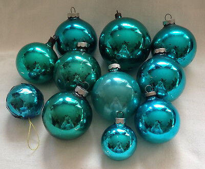 Vtg Shiny Brite TEAL BLUE GREEN Christmas Ornaments 5 Different Sizes Lot of 11