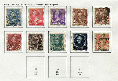 1895 USA.  U.S.P.S. double-line watermark.  Part set of 10 USED.