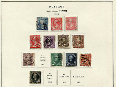 1895 USA.  U.S.P.S. double-line watermark.  Part set of 12 USED.