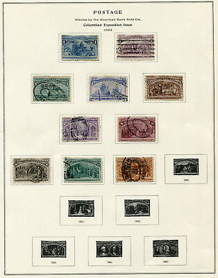 1893 USA.  Columbian Exposition, Chicago.  Part set of 10 USED.  SG 235/244.
