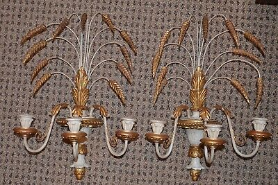 """Vintage Antique Pair Italian Wheat Gold Gilt Wall Sconce Lights  21 x 13"""""""