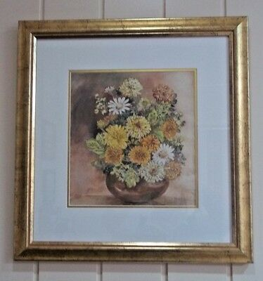 Vintage Floral Watercolour , ' Flower Arrangement ' , by Jean Low .