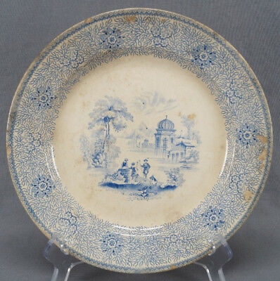 "Rare Enoch Wood Damascus Blue Transferware 9 1/4"" Dinner Plate C. 1818 - 1846"
