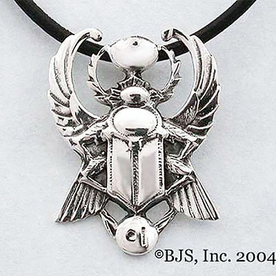 Sterling Silver Egyptian FLYING SCARAB Pendant NECKLACE, Ressurrection Egypt