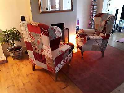Pair of vintage, shabby chic, wingback fireside armchairs and matching footstool