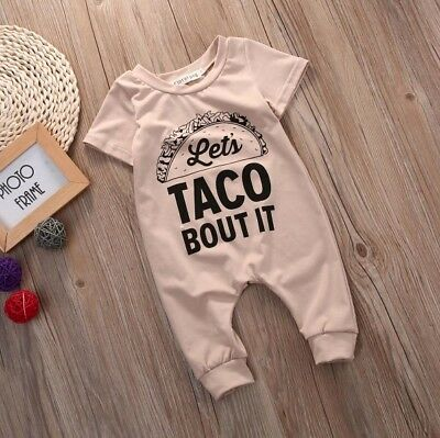"US Funny Baby Romper Outfit ""Lets Taco Bout It""Jumpsuit One Piece Cute Romper"