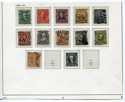 1902-1903 USA.  Part set of 11 USED.