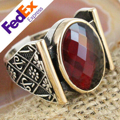 TURKISH Handmade Ottoman 925 Sterling Silver Ruby Faceted Men's Ring All Size