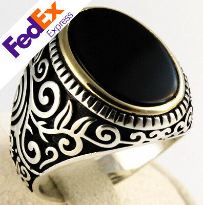 Luxury 925 Sterling Silver Turkish Handmade Ottoman Onyx Stone Men Ring