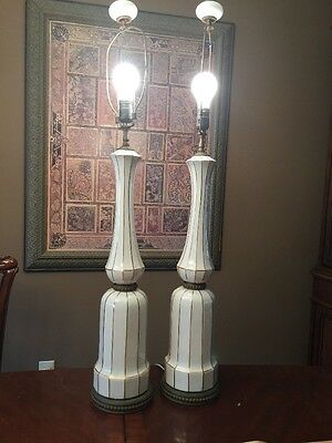 "ITALY Porcelain Lamps Hollywood Regency 38"" tall FINIALS ANTIQUE GORGEOUS SALE"