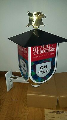 (Vtg) 1964 Old Milwaukee Beer Coach Lantern Light Up Sign With Eagle Mib Rare