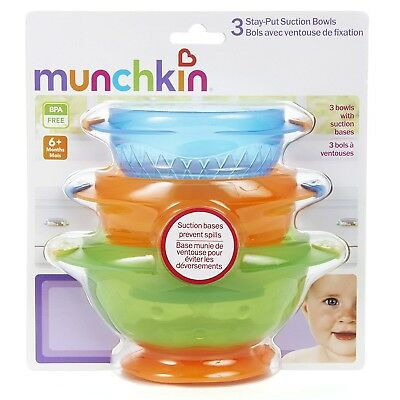 Munchkin Stay-Put Suction Bowls 6+ Months, 3 count