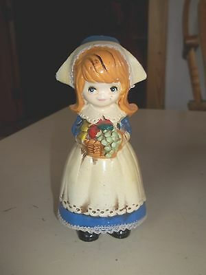 """Girl with Flowers Napcoware Vintage 6"""" Tall Figurine"""