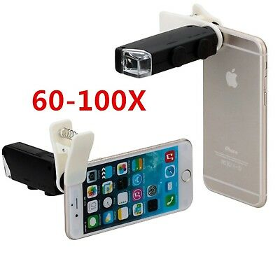 60X 100X Zoom LED Microscope Magnifier Micro Mobile Phone Camera Lens for iPhone