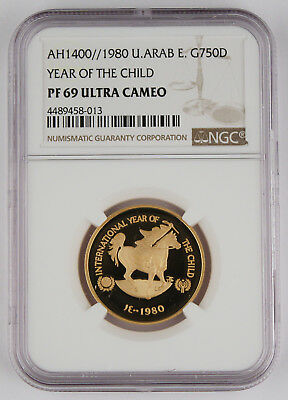1980 United Arab Emirates 750 Dirhams Gold Proof Coin NGC PF69 UAE Year of Child
