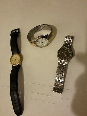 Lot of 3 Mens Great Watches  Skagen Two Timex Movado Bold Band Fluted Gold Bezel