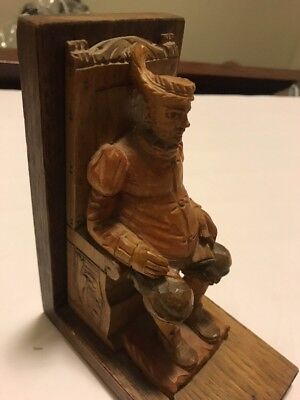 Don Quixote Sancho Panza Carved Wood Sculpture Book End