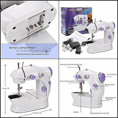 Portable Mini Electric Household Sewing Machine with 2-Speed for Beginners Easy