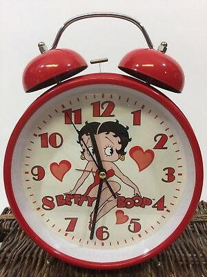"""Betty Boop Extra Large 11"""" Red Metal Alarm Clock *2004"""