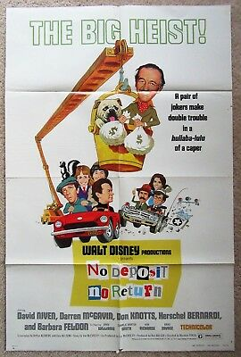 No Deposit No Return Orig 1976 1Sht Movie Poster Fld David Niven Walt Disney Ex